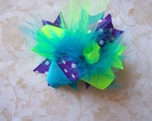 Hair Bow, Colorful Hair Ribbon, Custom Baby Hairbow, Ribbon Hair Clip, Baby Hair Bow Clip, Blue, Green, Purple Bow