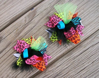 Funky NEON Cheetah---Hair Bows Set of 2---Mini Funky Fun Over the Top Bows--NEON Animal Prints