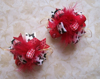 Country Cutie---Hair Bows Set of 2---MINI Funky Fun Over the Top Bows---Red Bandana and Cow print with straw accent