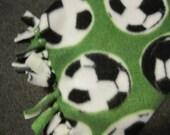 Soccer Balls on Green Fleece Scarf