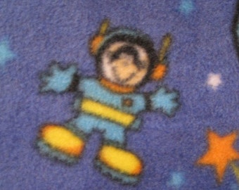 Spacemen on Blue with Green Handmade Blanket - Ready to Ship Now
