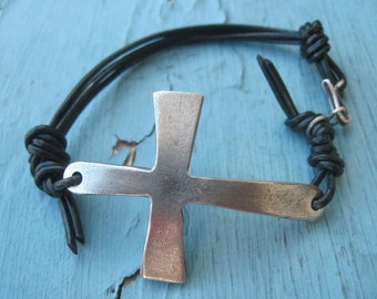 Sundance Black Leather Heavy Coptic Sideway Cross Bracelet Cuff Mens Size with Gift Box