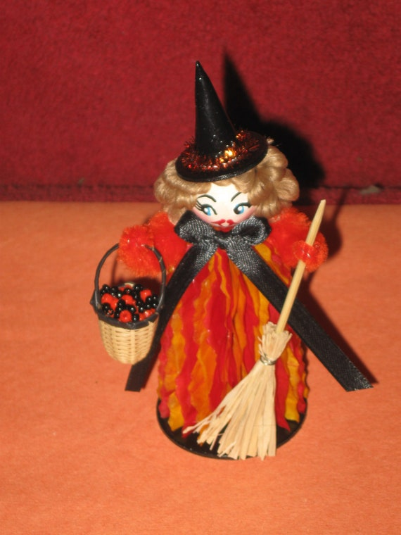 Vintage Style Altered Art Halloween Chenille Honeycomb Little WITCH Novelty Decoration Blonde Hair