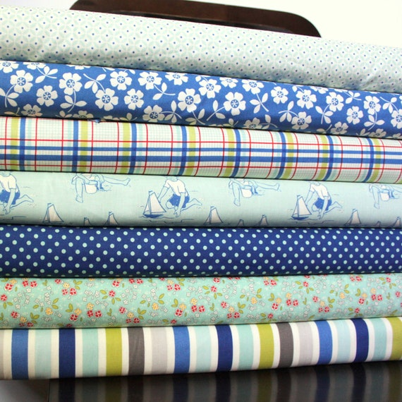 Aqua and Blue Seaside Fabric, Seaside by October Afternoon for Riley Blake, Fat Quarter Bundle, 7 Prints Total