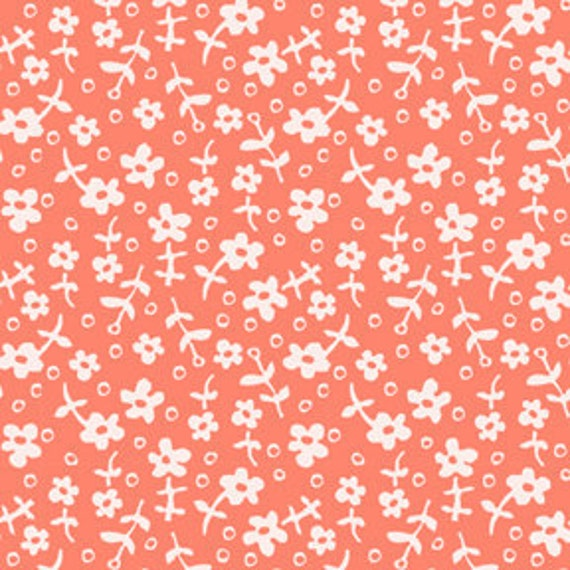 Coral and White Flower Fabric, Children At Play Meadow By Sarah Jane for Michael Miller, Wallpaper Flowers Print in Coral, 1 Yard