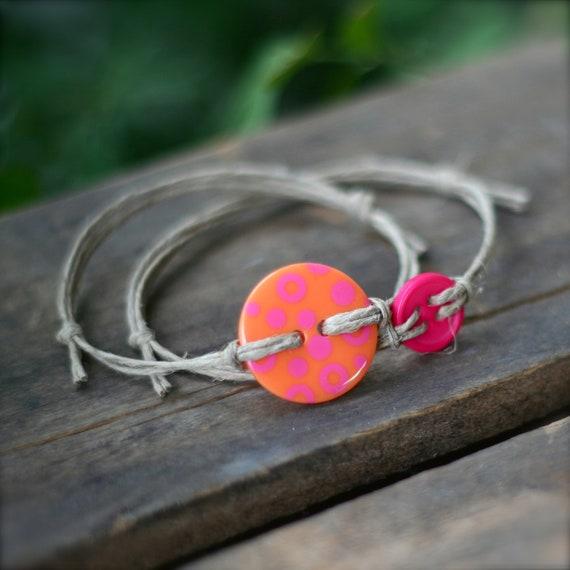 Orange Pink Dot Button Bracelets