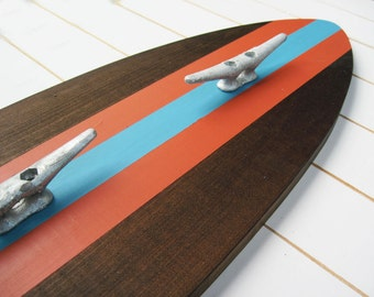 Dark Wood , Orange and Turquoise Surfboard Coat Rack with Three Boat Cleats 3 Feet Long