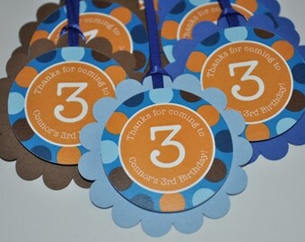 Boys 1st Birthday Party Favor Tags, Boys Birthday Party Decorations, Thank You Tags, Party Favors, Blue, Orange Polkadots - Set of 12