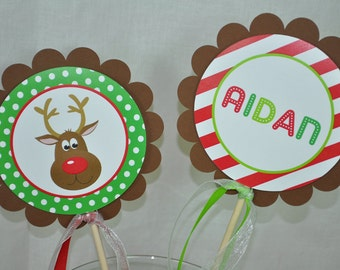 Reindeer Centerpiece Sticks - Holiday, Winter Birthday Party Decorations - Christmas Party Decorations - Set of 4