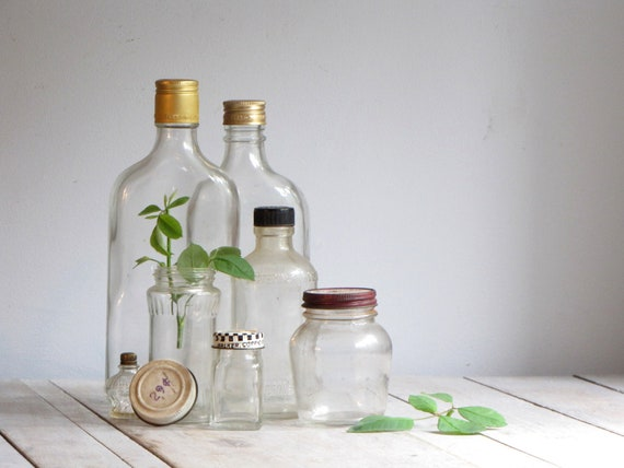vintage collection of glass bottles