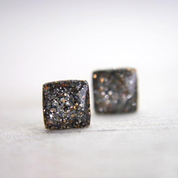 tiny square post earrings in sparkly taupe -on sale-