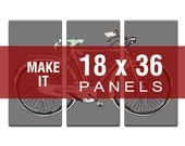 Make it 18x36 - Bicycle Map Triptych Canvas Giclee