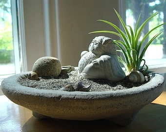 SALE! Stone Bowl Airplant Terrarium with Lucky Pug Buddha Sculpture in Zen Garden / Pug Lover Gift