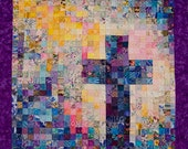 Christian Cross Quilt - Watercolor Art Quilt - SusieBDesigns