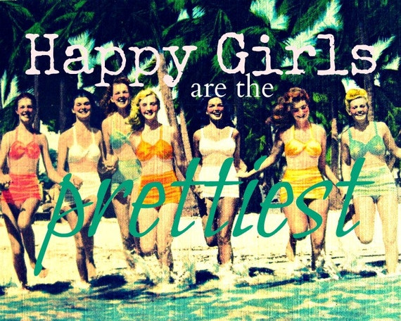Happy Girls are the Prettiest 11x14 Audrey Hepburn Quote Print Gifts for Her Beach Art Girls Room Decor Aqua Pink color vintage swimsuit art