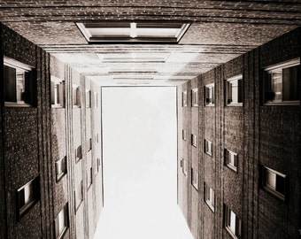 NYC New York City Brick Apartment Building Photography Print, Urban Black and White Queens Photo, Modern Wall Decor