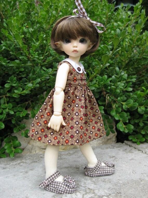 "GEOMETRICS  Collar Dress  made to fit  Fairyland LittleFee 10"" YoSD BJD"