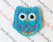 Embroidered Felt Owls - Turquoise - Set of 4