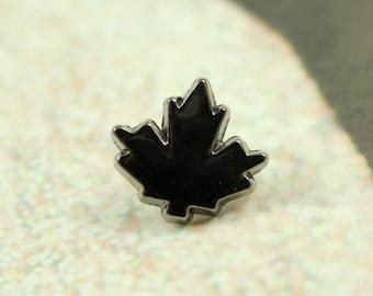 Metal Buttons - Maple Leaf Metal Buttons , Shiny Gunmetal Color , Shank , 0.39 inch , 10 pcs