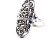 RESERVED for Emmalina82 - SALE - Sterling Silver Marcasite Ring - Vintage Size 7 Costume Jewelry / Art Deco Style Statement