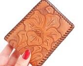 Retro Brown Leather Wallet - 1960s Tooled Flower Billfold / Vintage Floral