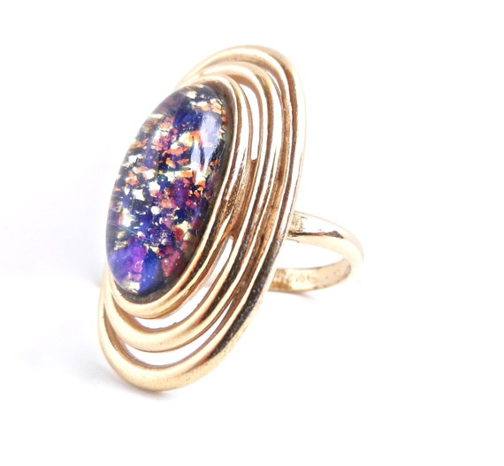 Vintage Cocktail Ring - Retro Adjustable Gold Tone Colorful Glass Cabochon Ring/ Confetti