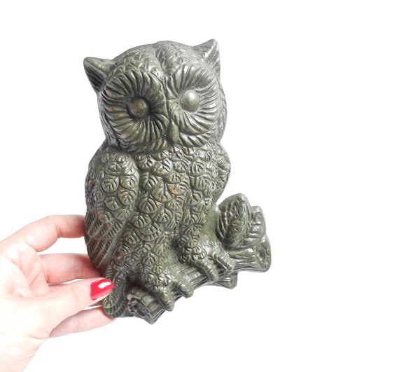 SALE - Vintage Owl Wall Hanging - Retro Wooden Bird Decor / Forest Green Owl