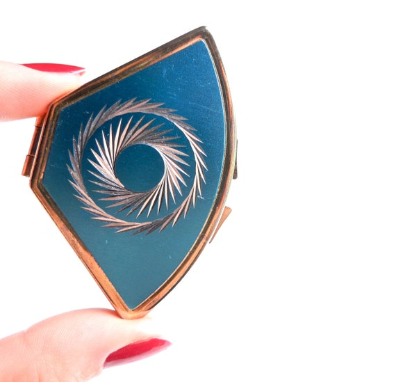 Vintage Pill Box - Gold Tone & Baby Blue Retro Case / Etched Swirl