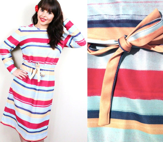 Vintage Striped Dress - Retro Size Medium Large 1960s Belted Pink Fashion Day Dress / Watermelon Blues