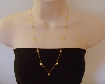 """24"""" Tiny Disc Long Gold Necklace, 24 inches, hollywood, modern, casual, formal, bridal, bridesmaids gift"""