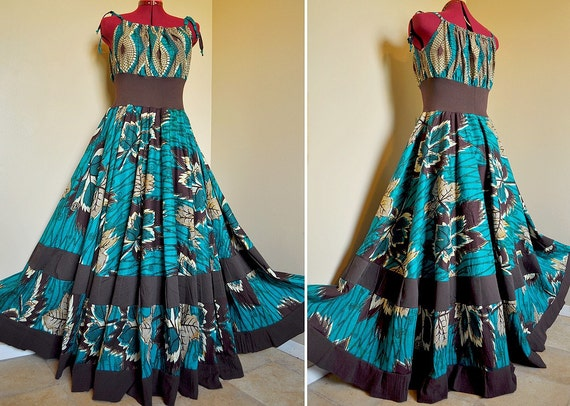Teal Earth -  Long African Maxi Gown, Elegant Ethnic dress, Ooak Tribal Tiered Goddess Gown, Best for sizes - M to XL