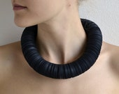 Statement Necklace made of black paper: CARTA L