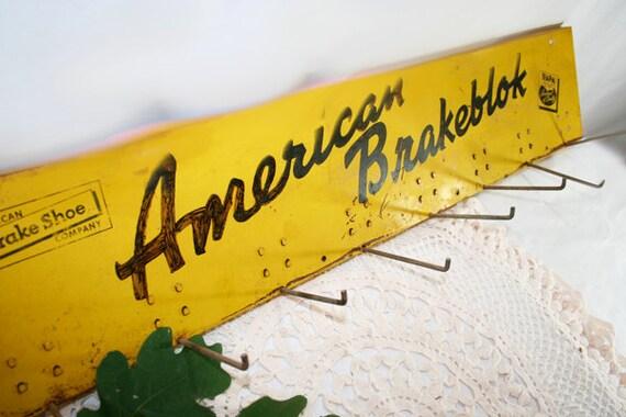 Metal Sign American Brakeblok with Pegs