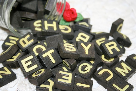 90 Black Wood Letter Tiles in a Jar