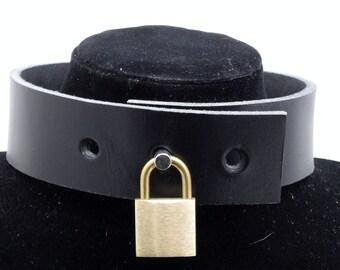 BDSM Small Brushed Brass Padlock - Free US Shipping