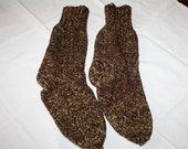 Reserved for Karen Mans Hand Knitted Wool Socks Brown and Yellow Warm Heavy M Unworn