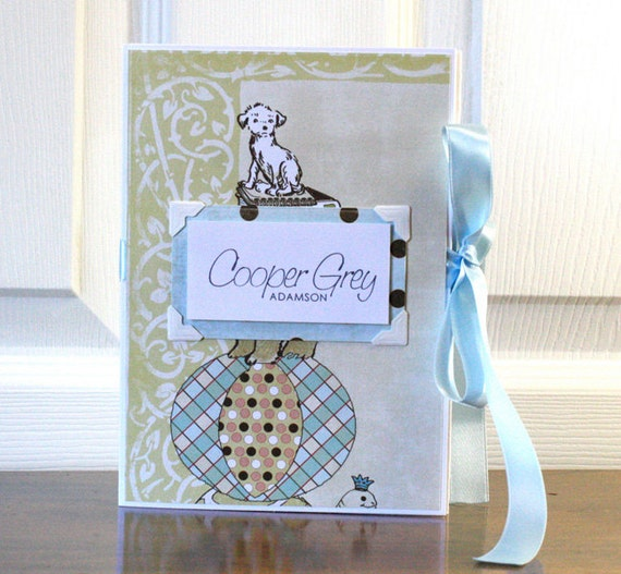 Baby Book, Gender Neutral, Vintage Puppy, with muted colors
