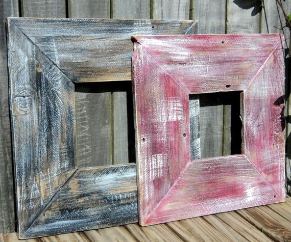 Black And Red Up Cycled Fence Wood Frames, Mantle Decor, Aged Weathered Wood, Rustic Shelf Sitters