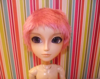 SALE Short pink faux fur wig hair crew cut for Pullip/Taeyang/Dal