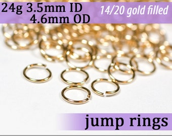 24g 3.5mm ID 4.6mm OD gold filled jump rings 24g3.50 goldfill jumprings 14k goldfilled