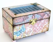 Jewelry Box Decoupaged Box Decorated Box Keepsake Box Trinket Box Pastel Pink Blue Butterfly Gift for Her