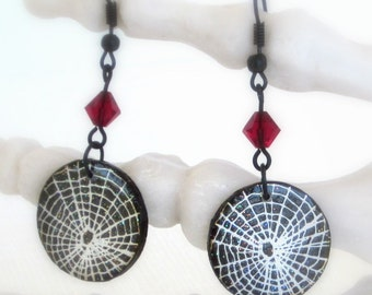 Halloween Earrings Spiderweb Cobweb Decoupaged Ruby Red Crystal Dangle Spooky Jewelry Halloween Fashion Jewelry