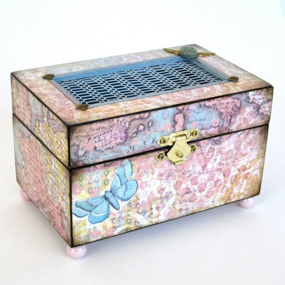 Jewelry Box Decoupaged Box Decorated Box Keepsake Box Trinket Box Pastel Pink Blue Butterfly Gift for Her