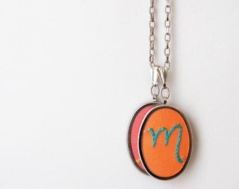 Mother Necklace. Custom Personalized Jewelry. Hand Embroidery.  Mommy Necklace. Personalized Gifts for Mom, Grandmother. Initials Necklace.