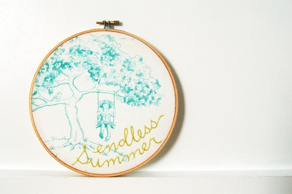 "Hand Embroidered Hoop Wall Art. ""Endless Summer"" Toile Motif Fabric with Hand Embroidery. by Merriweather Council."