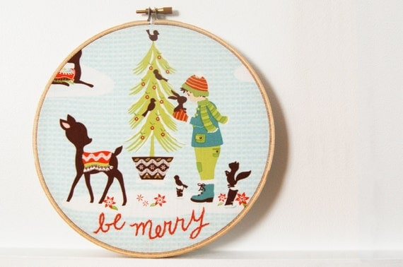 "Holiday Home Decor. Hand Embroidered Hoop Sign. ""Be Merry"", Winter Wonderland Scene. Handmade by merriweathercouncil on Etsy"