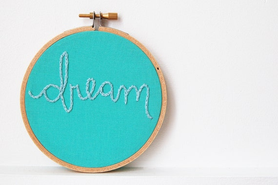 "Embroidered Hoop Art. ""Dream"" Teal Fabric and Blue Thread. Embroidered Fabric Wall Hanging.  Nursery Decor by merriweathercouncil on Etsy"