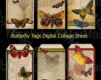 Digital Collage Sheet Butterfly Ephemera Tags