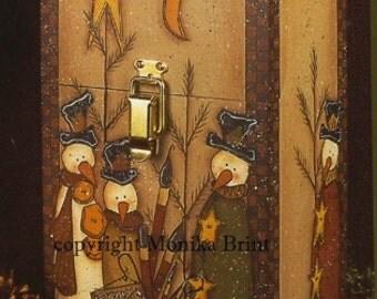 Paint Brush Box-Christmas Decoration-Primitive Snowman-Snowman Decoration-DIY-Painting Instructions