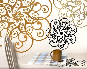Mandala Doily Wall Decal Art - Metallic Copper & Gold Vinyl Wall Decals, Mandala Art, DIY Home Decor, Romantic Decor (0179c20v)